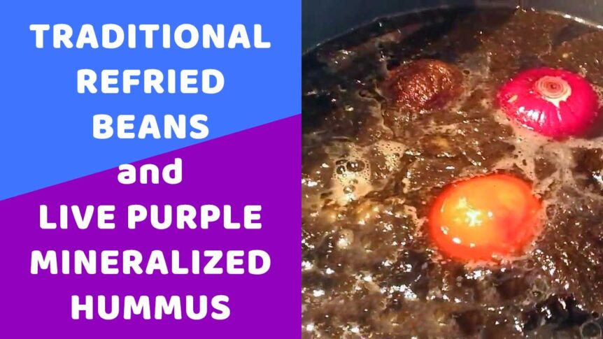 Traditional Refried Beans and Live Purple Mineralized Hummus