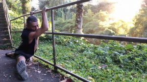 Stretching at Akaka Falls, Hawaii