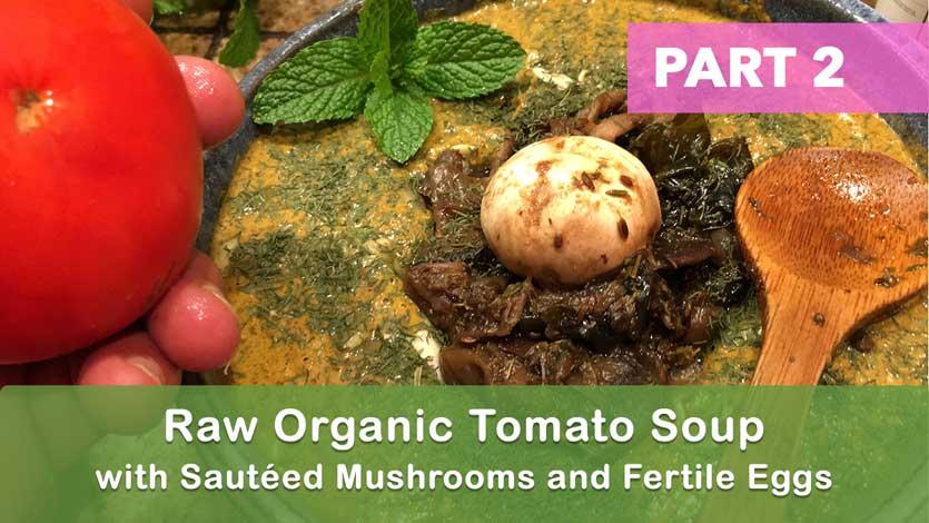 Raw Organic Tomato Soup with Sautéed Mushrooms and Fertile Eggs