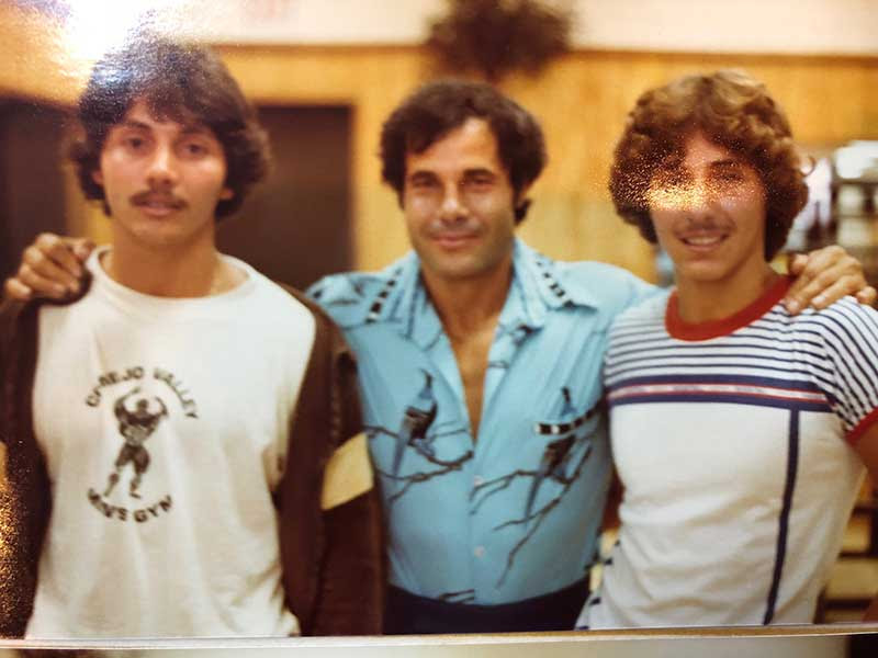 Dr. Robert Cassar and his Brother Mark with Dr. Franco Columbu at the Conejo Valley Gym