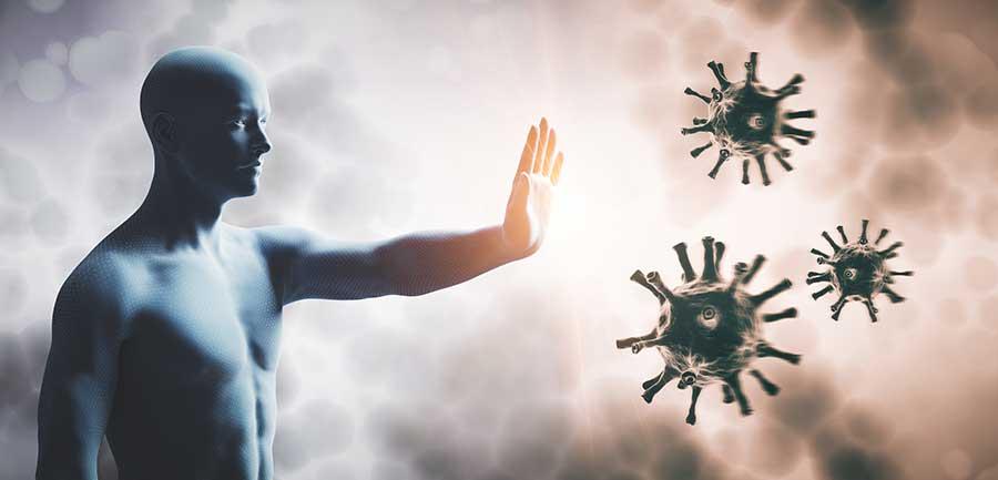 Man stopping CV. Immune system defend from CV